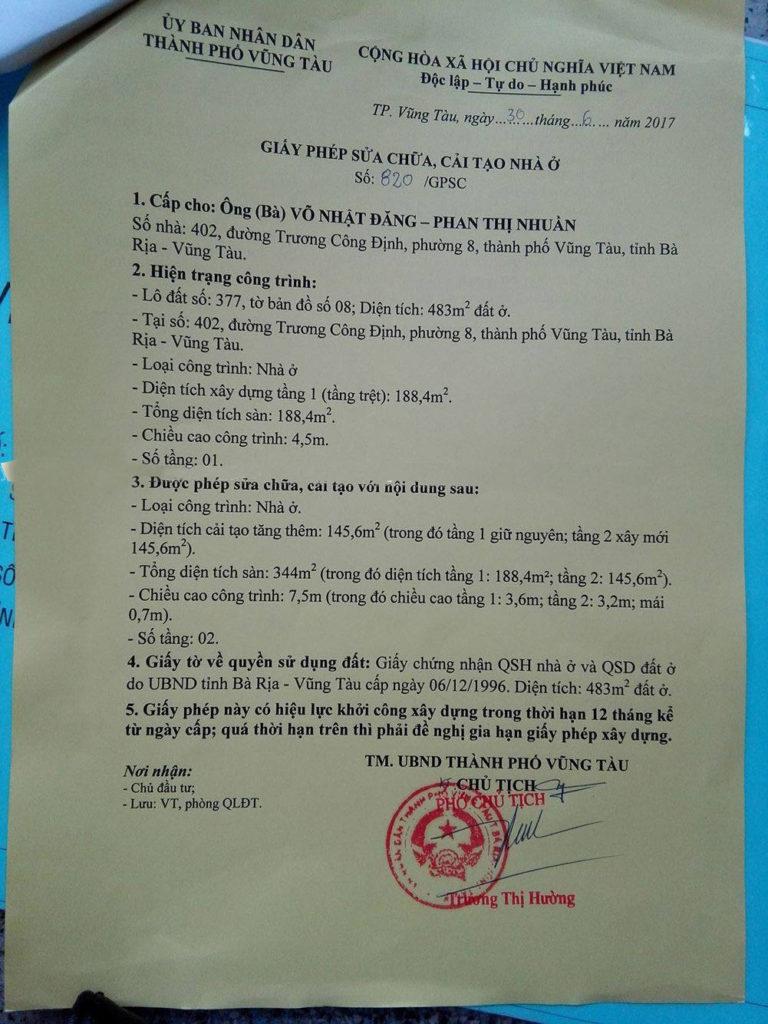 Xin giấy phép xây dựng sửa chữa Vũng Tàu
